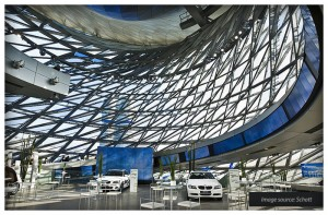 E(G) 30 roof with steel frame and impact resistance with ISO PYRAN® S at the BMW World, Munich Germany.