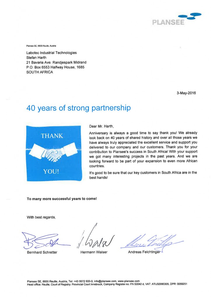 Plansee 40 Year Partnership